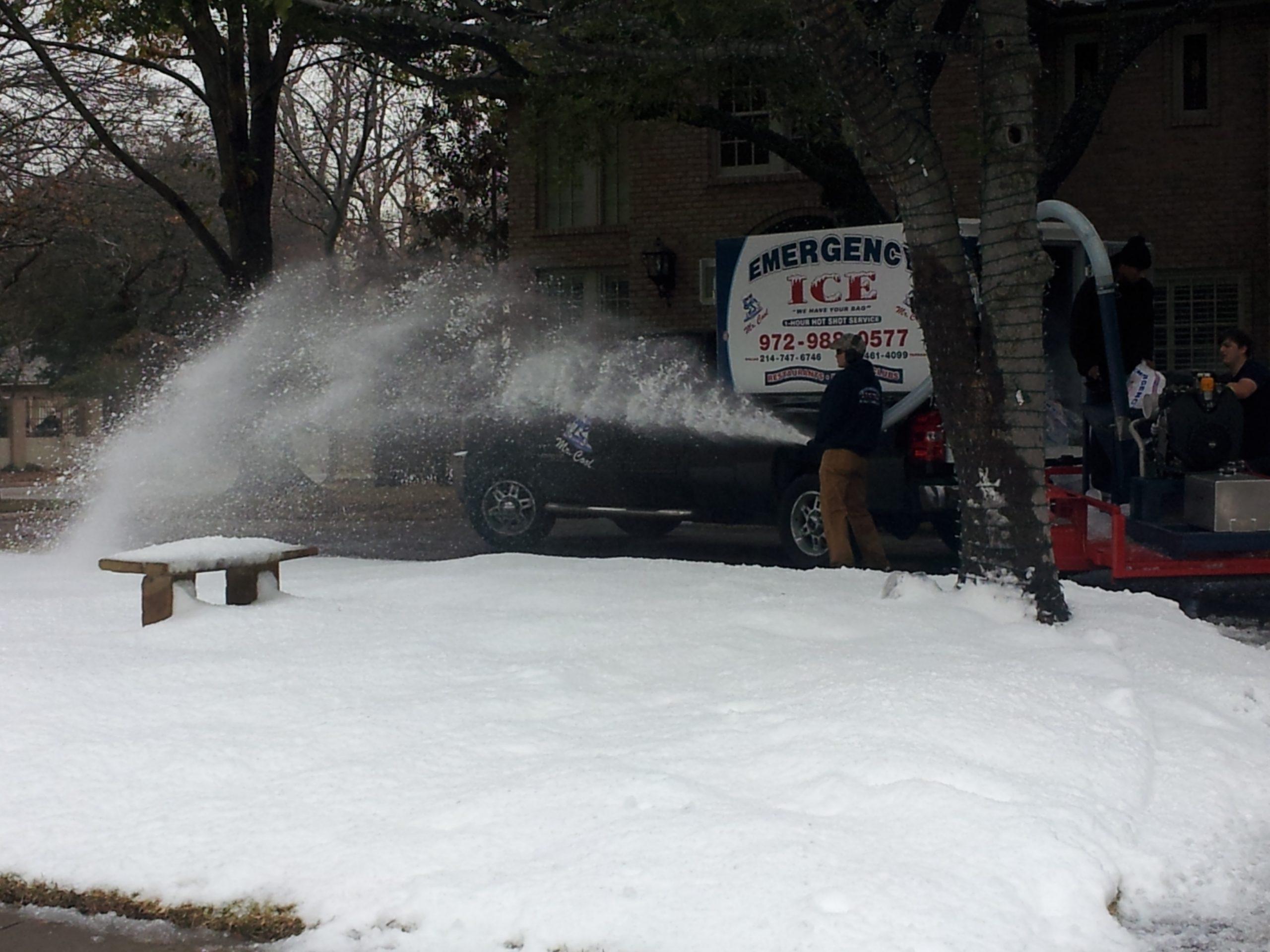 Emergency ice snow machine