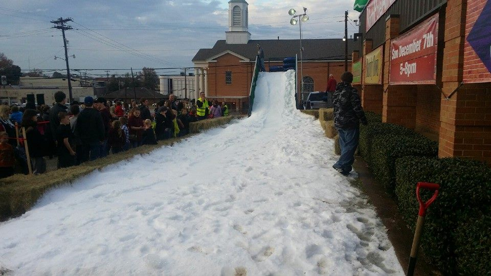 Church Snow Party Sledding